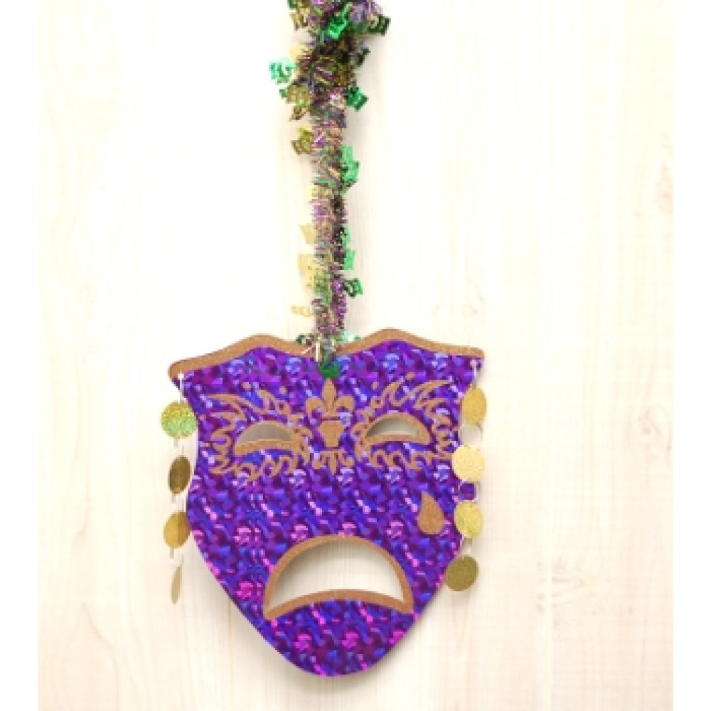 """12""""Purple,Gold and Green Comedy & Tragedy Swirl Mobile 2pc"""