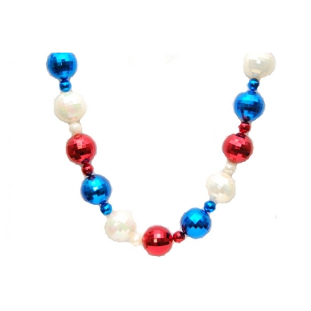 9' 100mm Red, White, and Blue Bead Garland