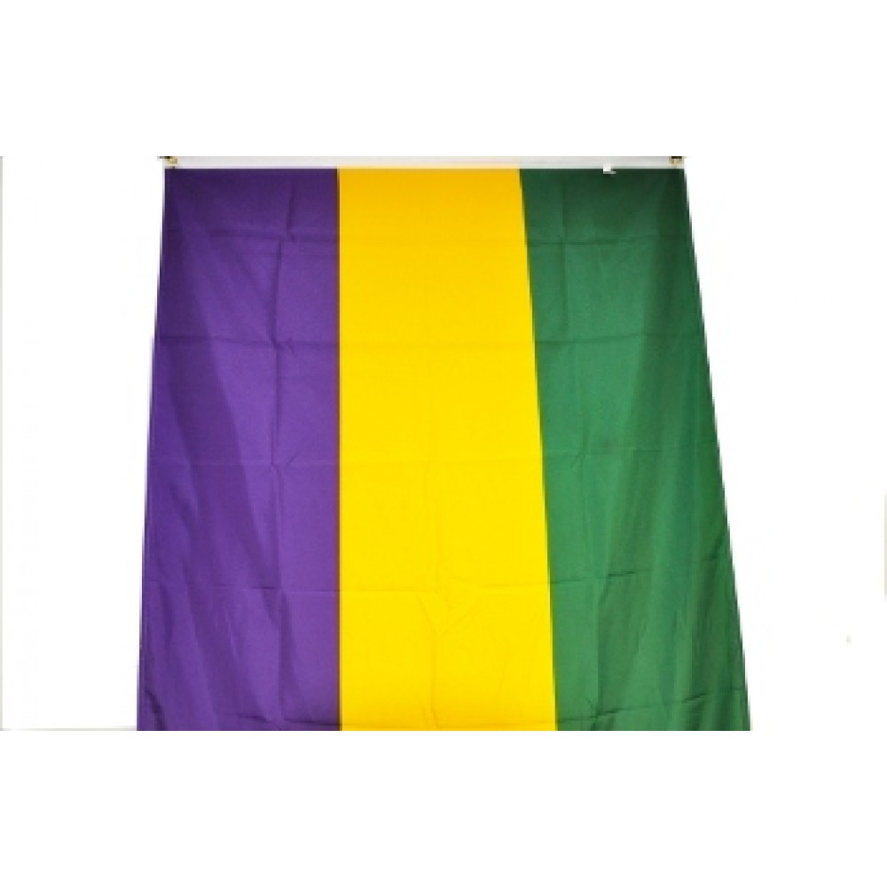 3' X 10' Nylon Flag  Banner Purple, Green & Gold