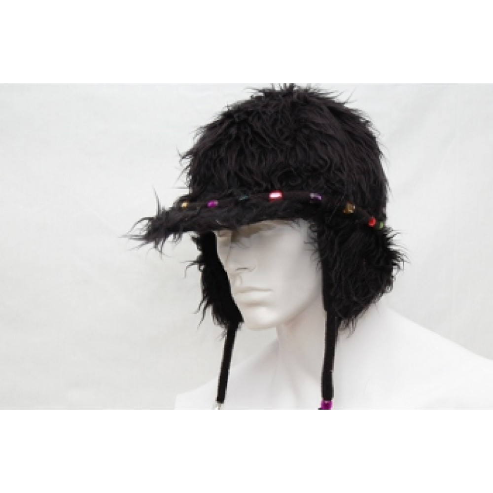 Black Fur Hat with Multi-Color Beads