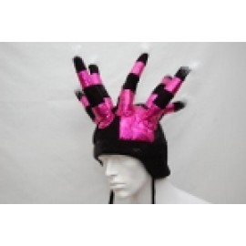 Black and Hot Pink Long Jester Hat
