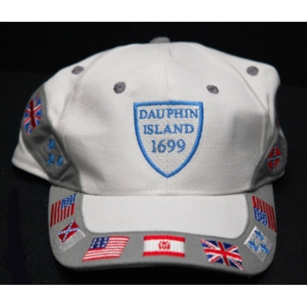 Dauphin Island Ballcap; White with flags