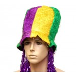 Mardi Gras Top Hat with Foil Wig