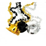 """33"""" Black , Gold and Silver Top Hat Beads"""