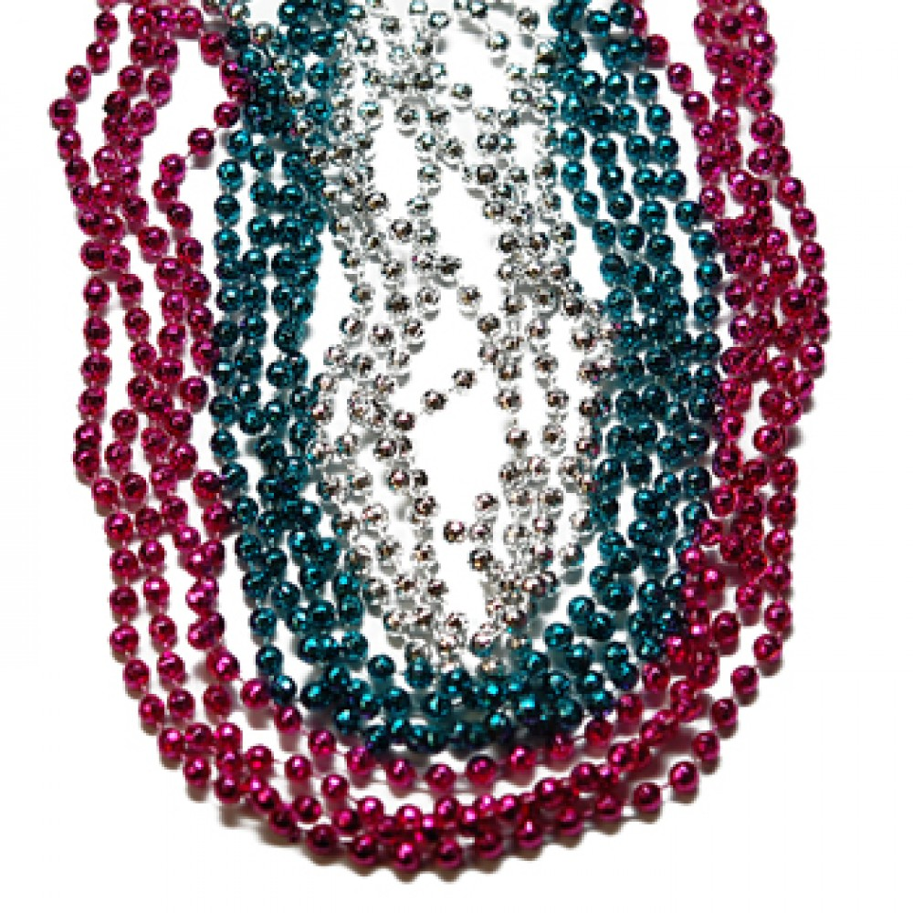 "33"" 7mm Global Beads Hot Pink, Light Blue, and Silver"