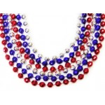 "33"" 7mm Global Beads Red, Blue, and Silver"