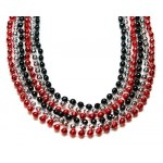 "33"" 7mm Global Beads Red, Black, and Silver"