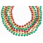 """33"""" 7mm Global Beads Red, Green, and Gold"""