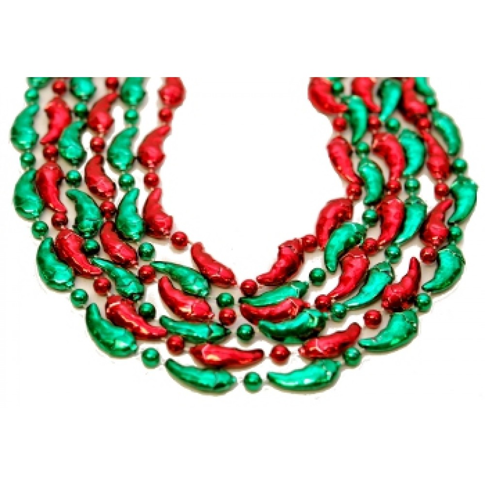 """36"""" Red and Green Chili Pepper Beads"""