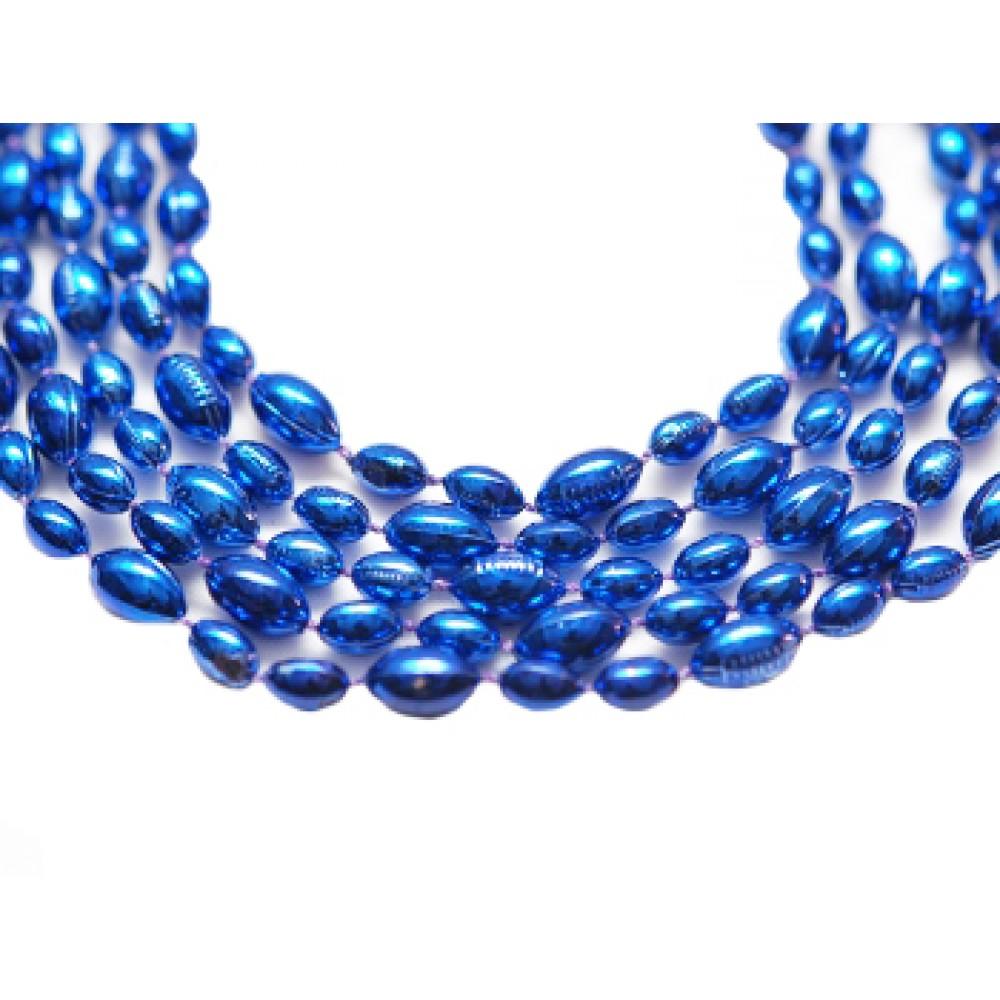 "33"" Blue Football Beads"