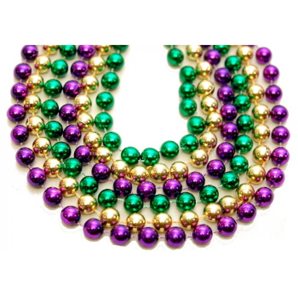 "100"" 14mm Round Beads Purple, Green, and Gold"