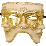 """8"""" Paper Mache Three-Sided Gold and Cream Mask"""