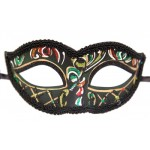 Black Venetian Cateye Mask with Red and Green Glitter