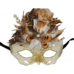 Cream Venetian Style Cateye Mask with Feather Trim