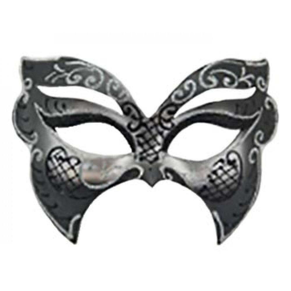 Silver and Black Butterfly-Shaped Mask