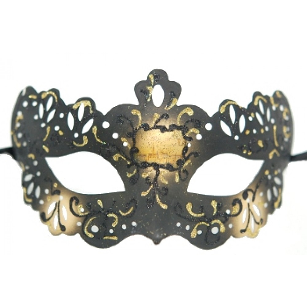 Black and Gold Venetian Lace Style Mask
