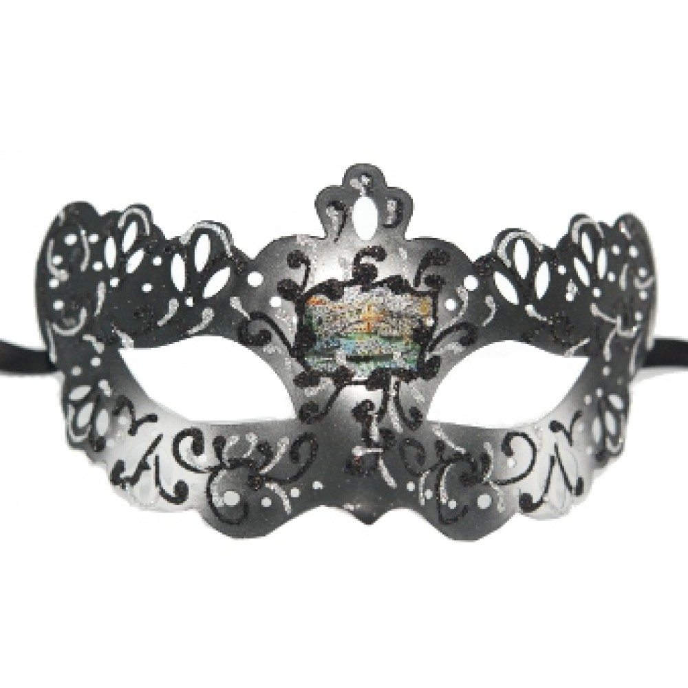 Black and Silver Lace Style Venetian Mask