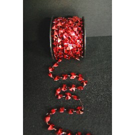 10 YD Roll 15mm Heart Bead Red