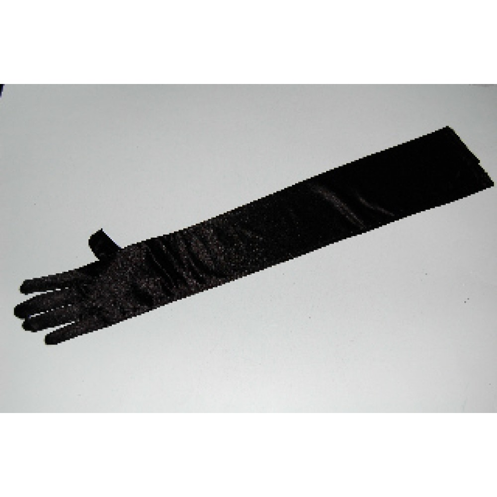 "23"" Satin Stretch Gloves Black"
