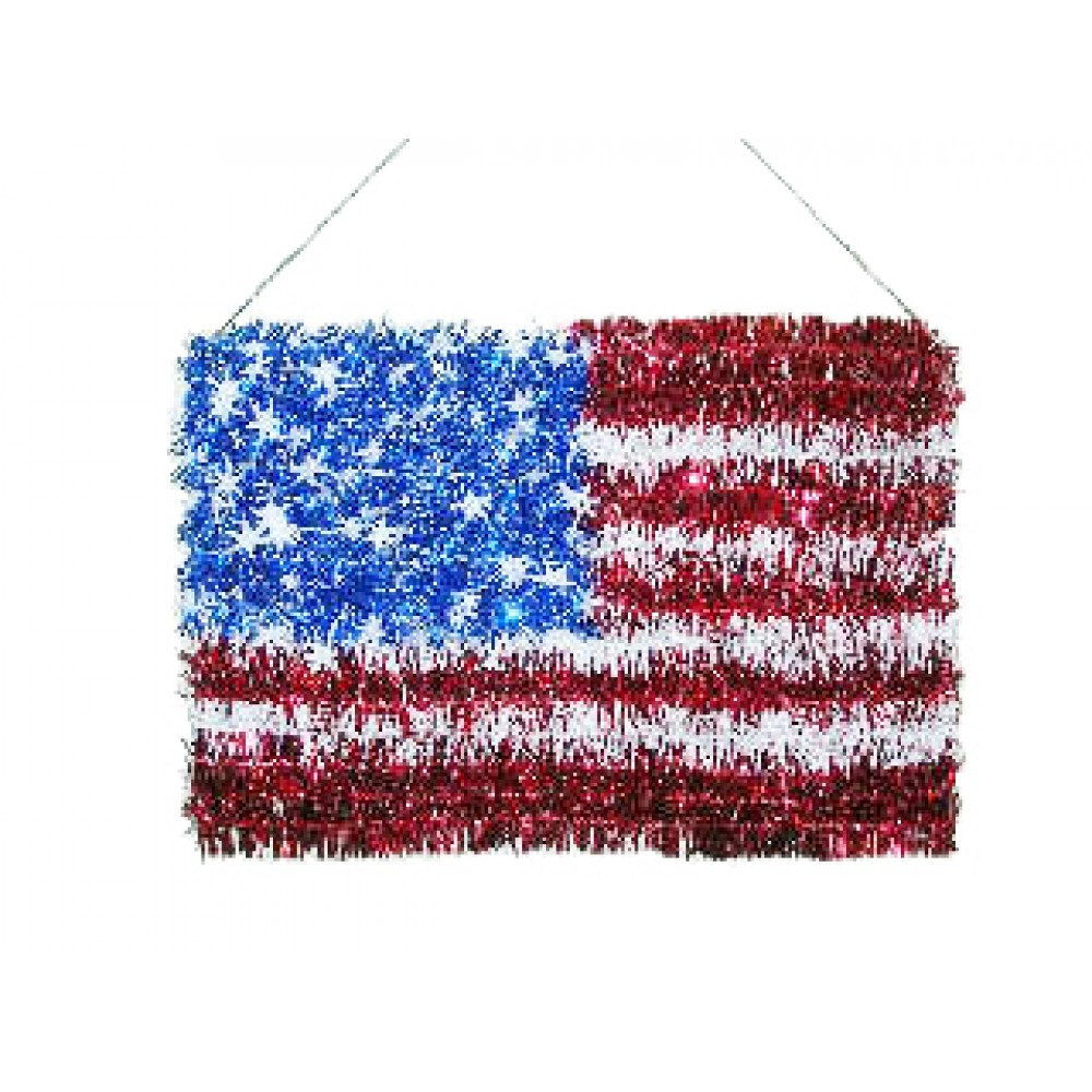 """Red, White & Blue Foil American Flag Wall Plaque 9"""" X 14"""""""