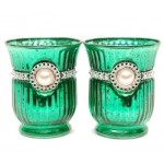 "6"" Tall Green Aqntique Hurricane Plated Finish Candle Holder w/ Pearl 2pc set"