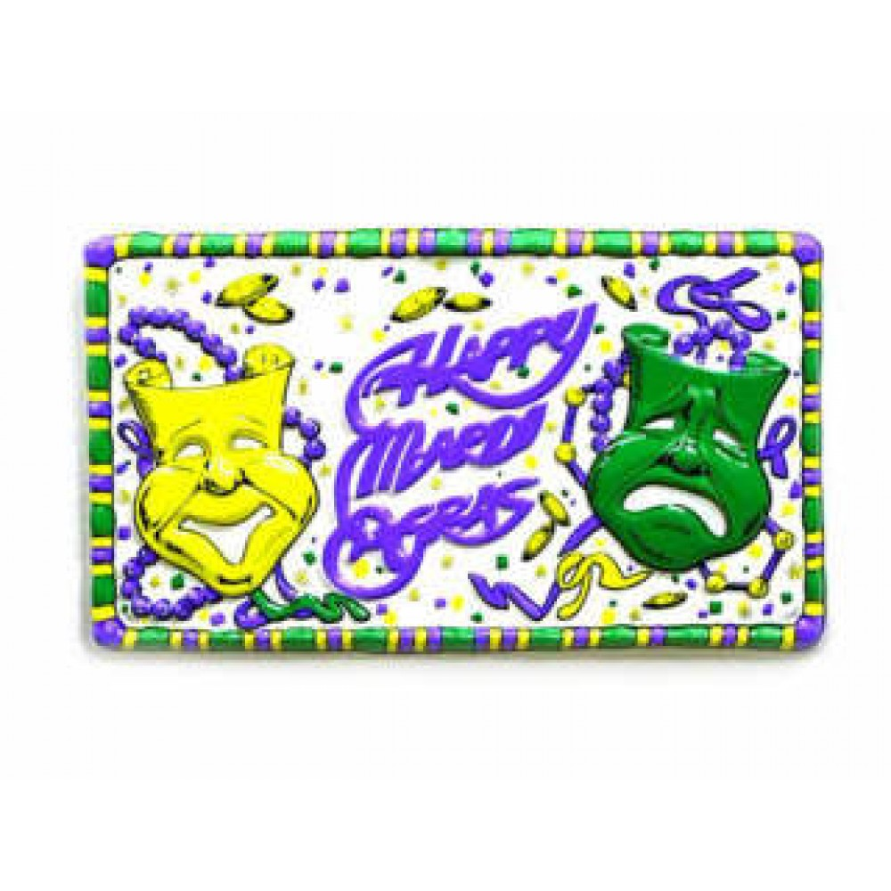 "10""x18"" Happy Mardi Gras Wall Plaque with Purple, Green and Gold Trim"
