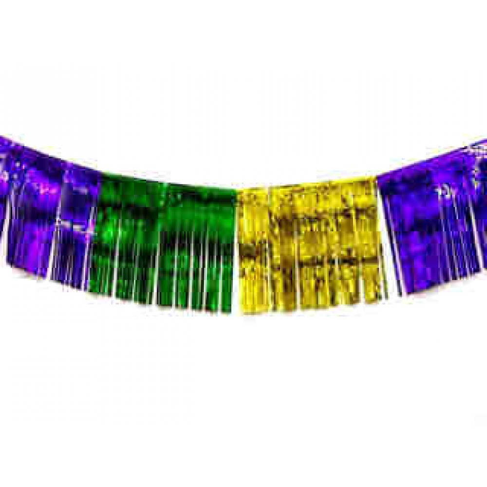 "12"" x 10' Metallic Fringe Purple, Green and Gold"