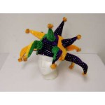 Purple, Green, and Gold Jester Hat with Silver Sequins