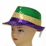 Purple, Green and Gold Sequin Fedora