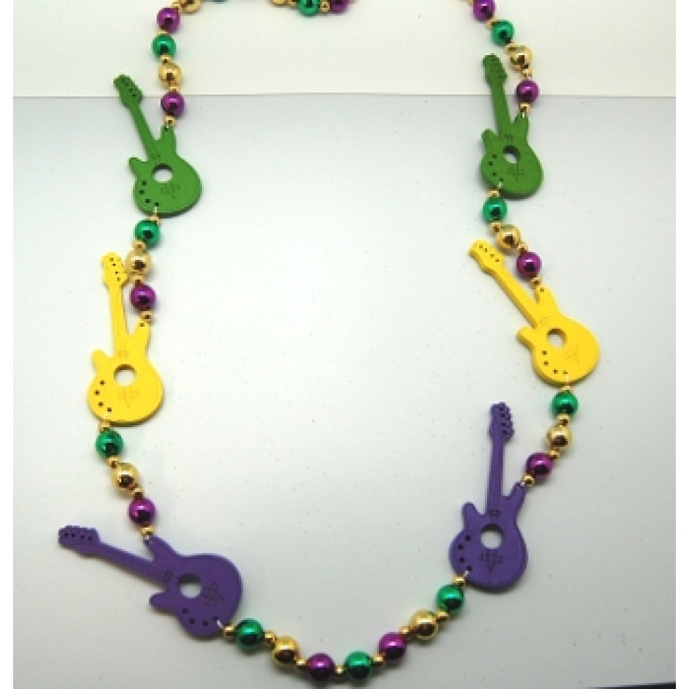 "44"" Purple, Green and Gold Beads with Wooden Guitars"