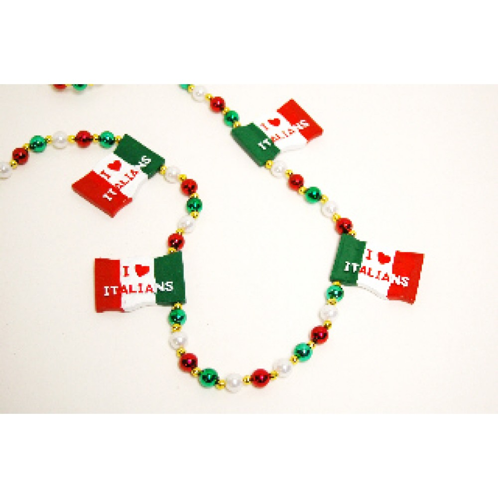 """""""I Love Italians"""" Flag with Red, Green and White Pearl Beads"""