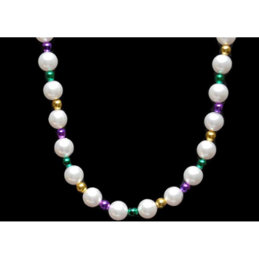 "42"" 14mm White Pearl Bead with Purple, Green and Gold Spacers"