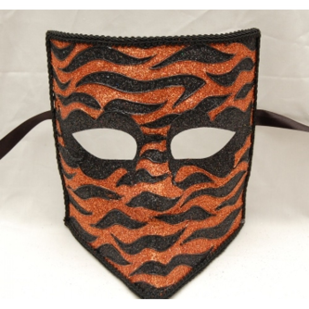Black and Orange Glitter Square Mask