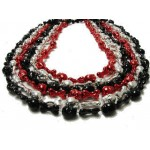 "33"" Skull and Bones Beads Red, Silver and Black"