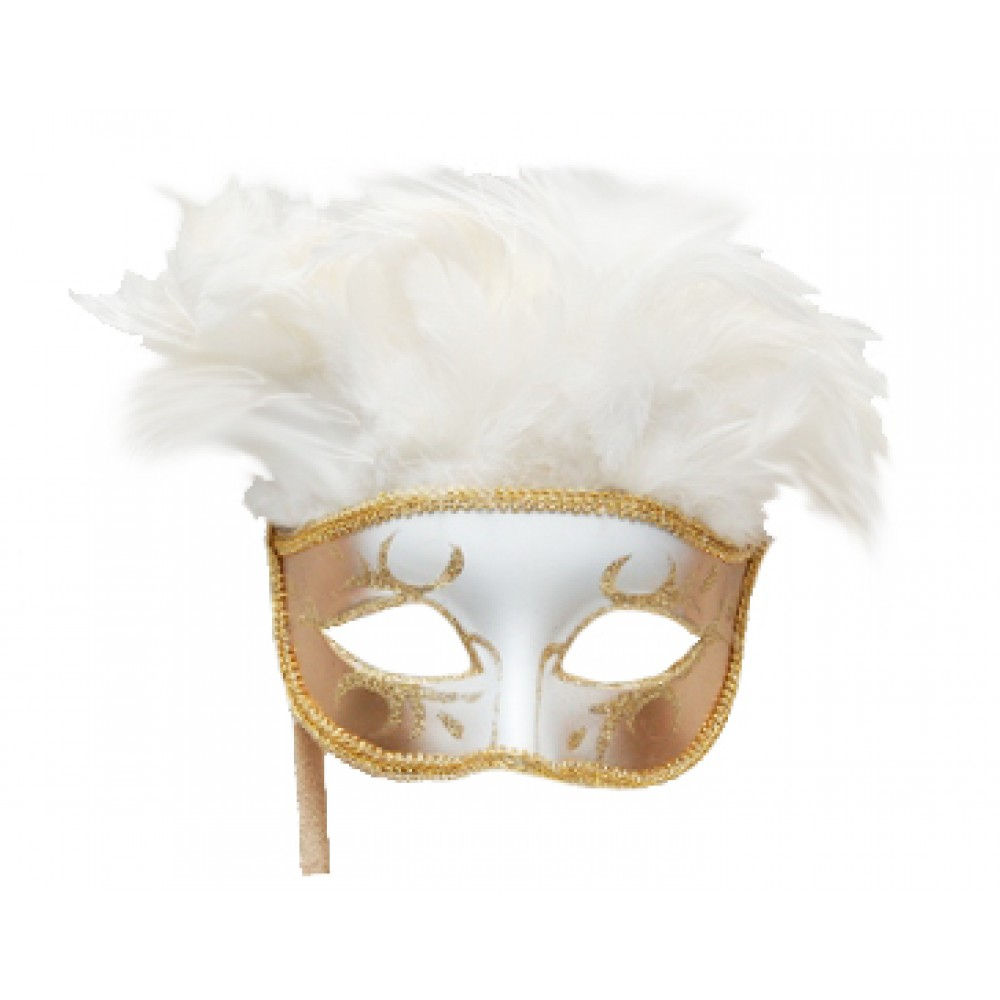 White and Gold Feather Mask with Stick