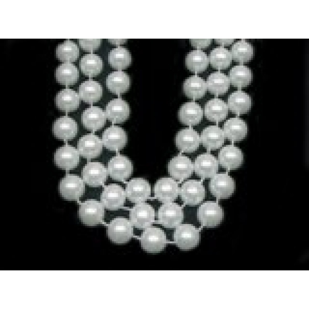 "48"" 10mm Round Beads White Pearl"