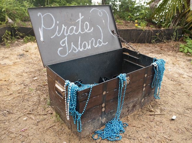 On an island in Logan Martin Lake lies a treasure chest of loot...from Toomey's Mardi Gras!